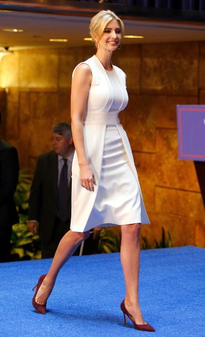 Ivanka Trump lors de la déclaration de candidature de Donald Trump à l'investiture républicaine pour la présidentielle de 2016 pendant une conférence à New York, le 16 juin 2015.