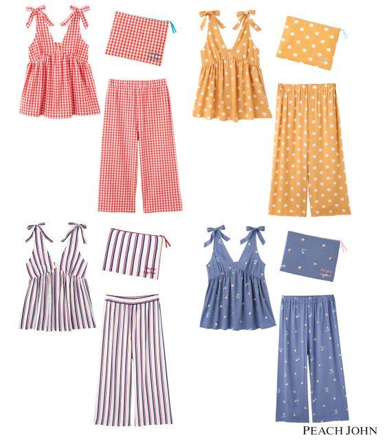 サマーキャミパジャマセット 4,980円(+税) サイズ:S/M、M/L カラー:フラガール、ギンガム、ドット、ストライプ、フラワー(全5色)