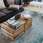 kaboompics_Designer living room interior with a wooden box table and a light blue carpet (1)