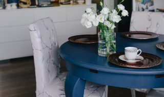 kaboompics_Modern dining room with blue table