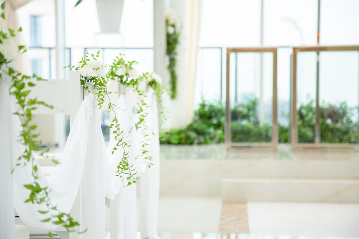 Flowers in the pure white chapel