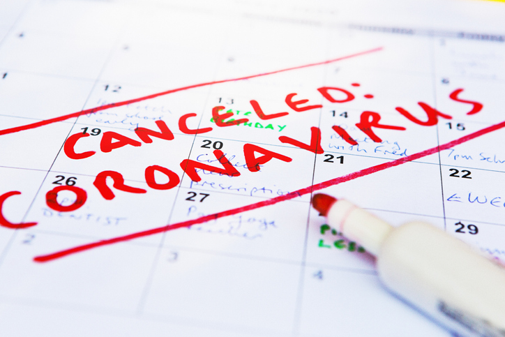 Calendar page full of appointments canceled because of the covid-19 coronavirus pandemic